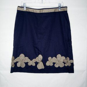 Boden A Line Skirt Women Size 10 Appliqued Silk
